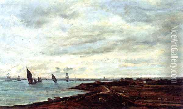 The Banks of the Thames at Eames Oil Painting - Charles-Francois Daubigny