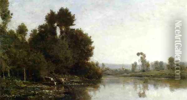 The Banks of the River I Oil Painting - Charles-Francois Daubigny