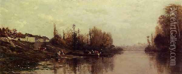Ferry at Glouton Oil Painting - Charles-Francois Daubigny