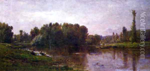 The banks of the Oise Oil Painting - Charles-Francois Daubigny