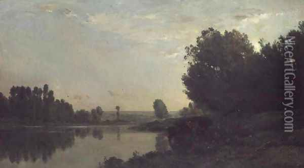 The Banks of the Oise, Morning, 1866 Oil Painting - Charles-Francois Daubigny