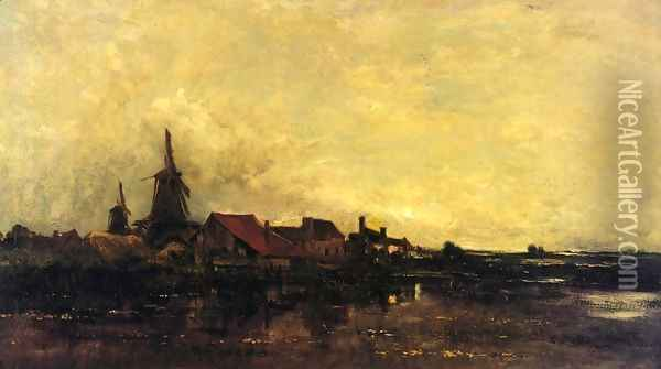 The River Meuse at Dordrecht Oil Painting - Charles-Francois Daubigny