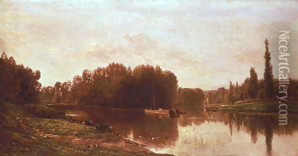 The Confluence of the River Seine and the River Oise Oil Painting - Charles-Francois Daubigny
