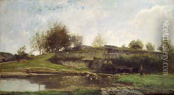 The Lock at Optevoz, 1855 Oil Painting - Charles-Francois Daubigny