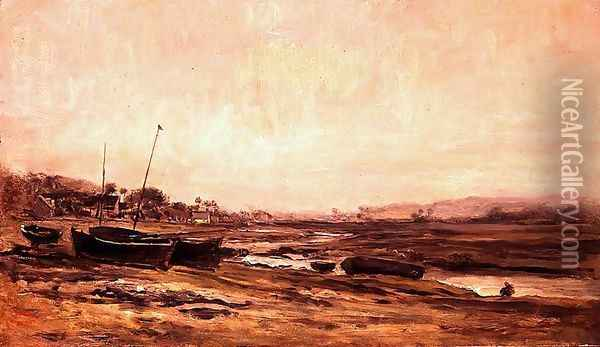 Fishing Boats Oil Painting - Charles-Francois Daubigny