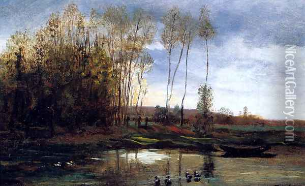 Riviere Avec Six Canards Oil Painting - Charles-Francois Daubigny