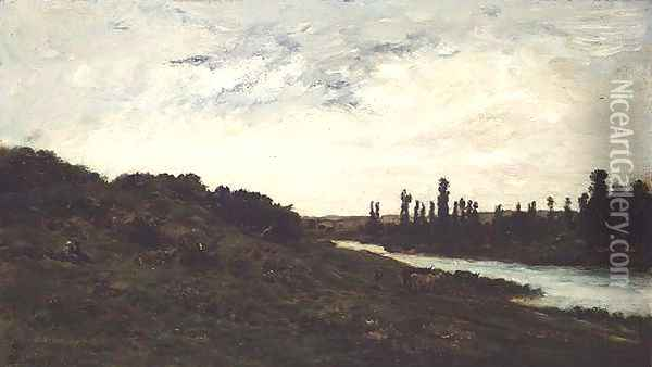 Herdsmen and Cattle in a wooded river landscape Oil Painting - Charles-Francois Daubigny