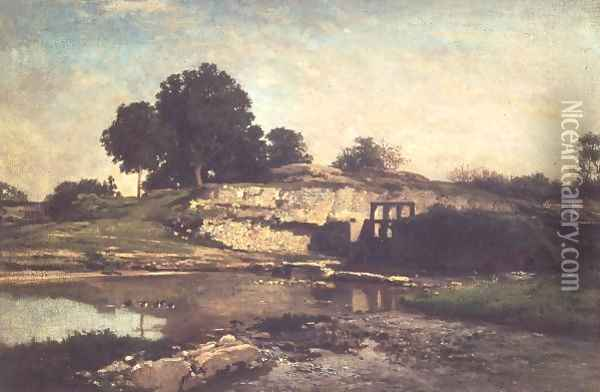 The Lock at Optevoz, 1859 Oil Painting - Charles-Francois Daubigny