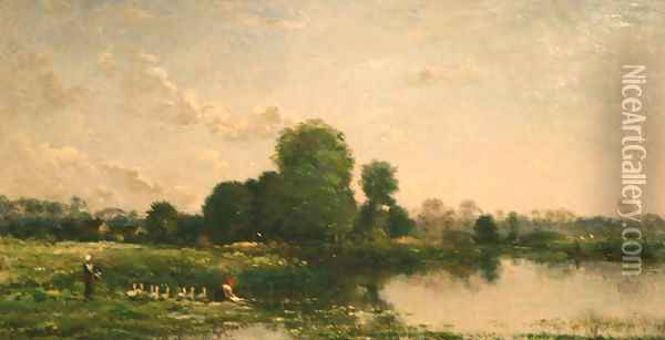 Riverbank with Fowl Oil Painting - Charles-Francois Daubigny