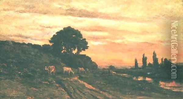 Landscape with Cattle Oil Painting - Charles-Francois Daubigny