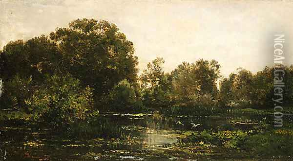 A River Landscape with Storks 1864 Oil Painting - Charles-Francois Daubigny
