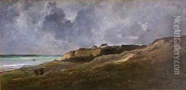 Cliffs at Villerville sur Mer Oil Painting - Charles-Francois Daubigny