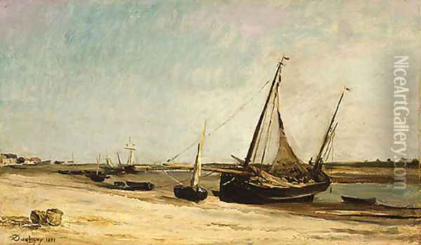 Boats on the Seacoast at aples 1871 Oil Painting - Charles-Francois Daubigny