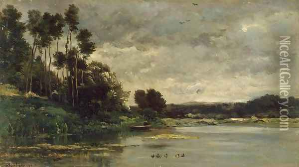 River Bank Oil Painting - Charles-Francois Daubigny