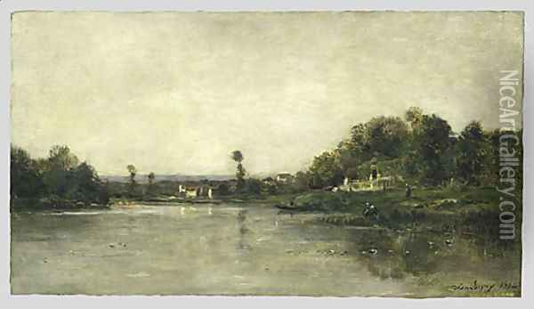 On the Banks of the Oise 1864 Oil Painting - Charles-Francois Daubigny