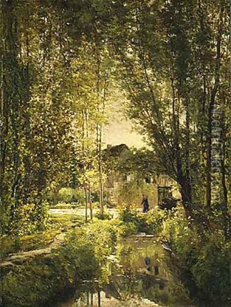 Landscape with a Sunlit Stream, ca 1877 Oil Painting - Charles-Francois Daubigny