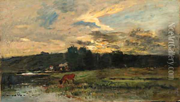 Landscape with Cow watering at a quiet Pool Oil Painting - Charles-Francois Daubigny