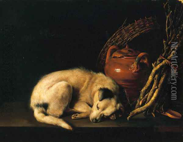A Sleeping Dog Beside a Terracotta Jug, a Basket, and a Pile of Kindling Wood Oil Painting - Gerrit Dou