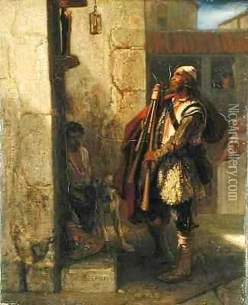 Pifferaro in front of a Madonna Oil Painting - Alexandre Gabriel Decamps