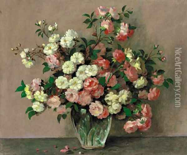 Pink And White Roses In A Vase On A Table Oil Painting - Alexandre Gabriel Decamps