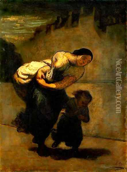 Burden Oil Painting - Honore Daumier
