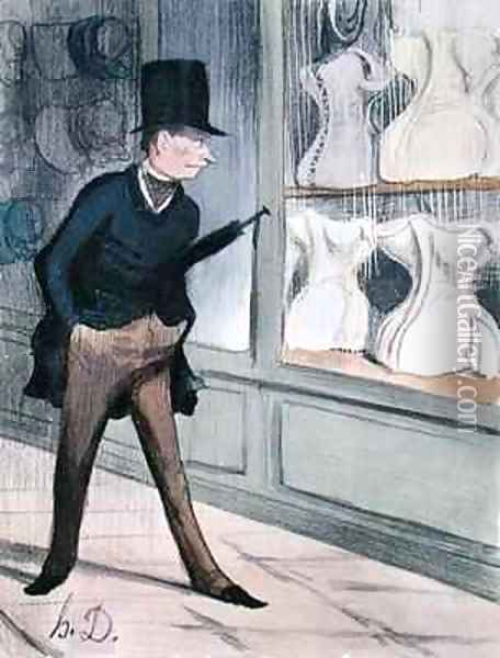 Its incredible I spy four sizes just like the women in my life Fifine my favourite that great whore Cocotte tall Mimi and my wife up there in the corner Oil Painting - Honore Daumier
