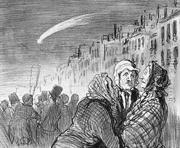 Series Actualites Ah yes those comets they always predict great misfortunes Oil Painting - Honore Daumier