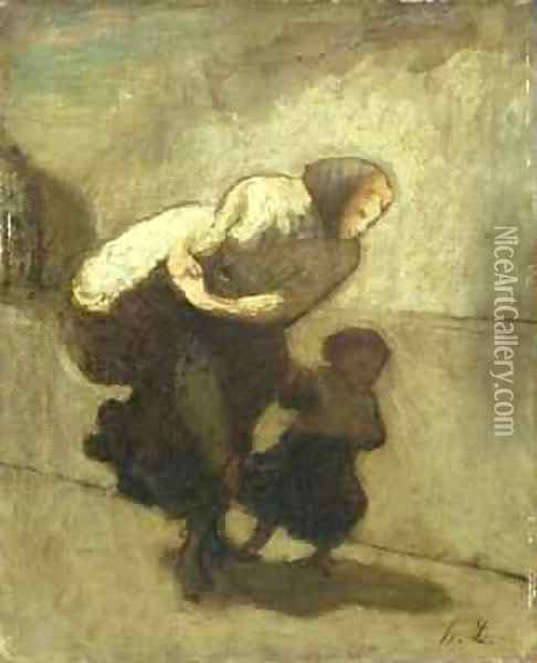 The Heavy Burden Oil Painting - Honore Daumier