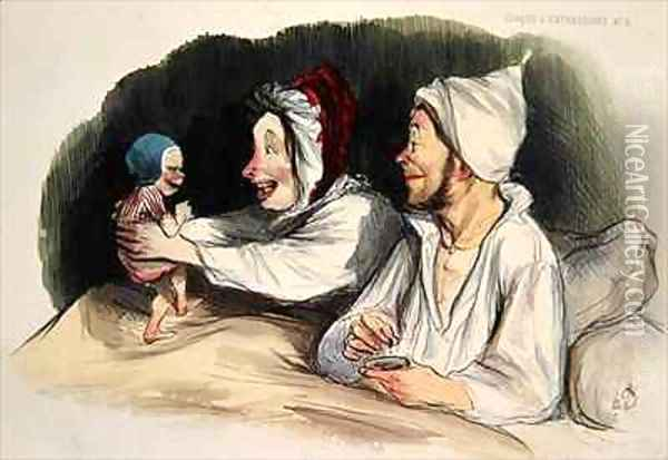 Ecstatic parents with their new baby Oil Painting - Honore Daumier