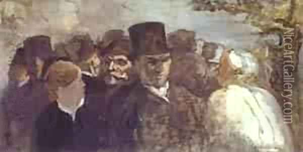 Passers By 1858-60 Oil Painting - Honore Daumier