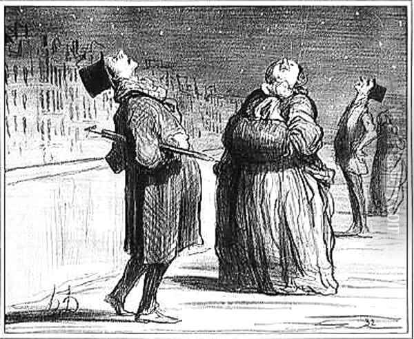 Series Actualites Parisians waiting for the arrival of the famous comet Oil Painting - Honore Daumier