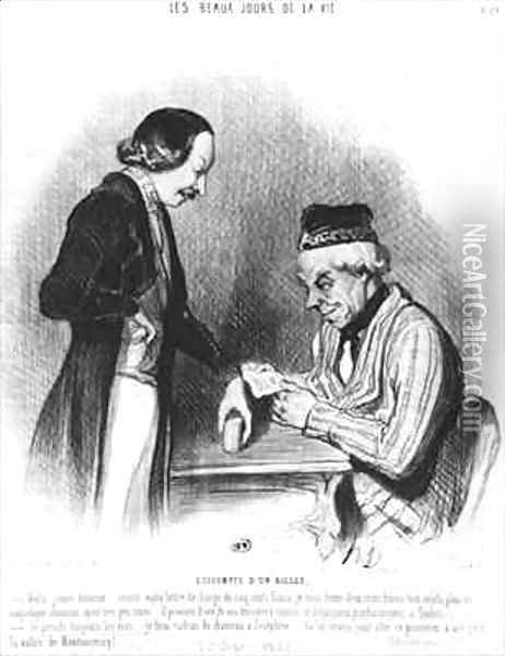Discounting a note Oil Painting - Honore Daumier