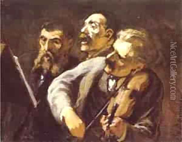 Three Amateur Musicians 1864-65 Oil Painting - Honore Daumier