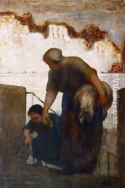 The Washerwoman 3 Oil Painting - Honore Daumier