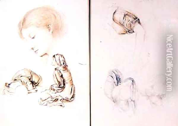 Six studies of female models two pages from one of the artists sketchbooks Oil Painting - Evelyn Pickering De Morgan
