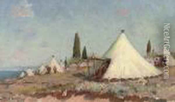 A Zouave Encampment On The Coast Oil Painting - Frederic Montenard