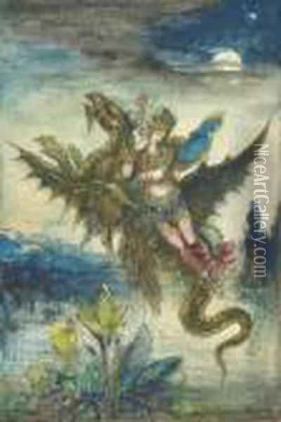 Reve D'orient Or La Peri: Dream Of The Orient Or The Peri Oil Painting - Gustave Moreau