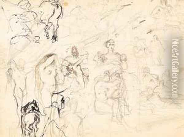 Hercule Et L'hydre, Verso And  Recto; And An Acadame Study, Recto,and Three Anatomical Studies, Verso Oil Painting - Gustave Moreau
