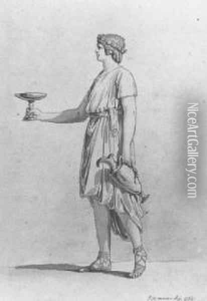 Study Of A Classical Figure Of A Serving Boy Carrying A Wine Jar And A Cup Oil Painting - Jean-Michel Moreau