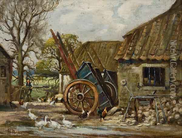 A Farmyard Oil Painting - Harry Morley