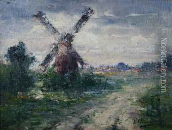 Landscape With Windmill Oil Painting - Frans Mortelmans