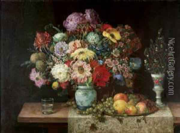 Elaborate Floral Still Life With Fruit And Berries Oil Painting - Frans Mortelmans