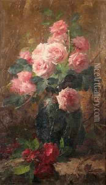 Still Life Of Roses Oil Painting - Frans Mortelmans