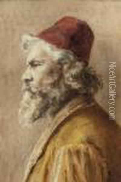 A Bearded Man In A Fez Oil Painting - Leopold Carl Muller