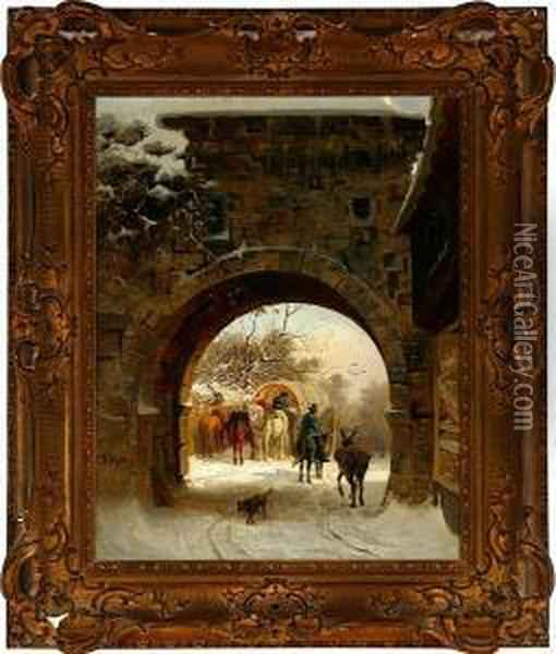 A Winter Day By A Gate, Presumeably In Germany Oil Painting - Ludwig Munthe