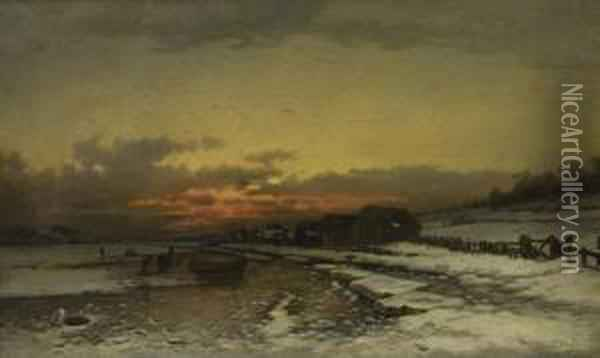 Winter At Norway Oil Painting - Ludwig Munthe