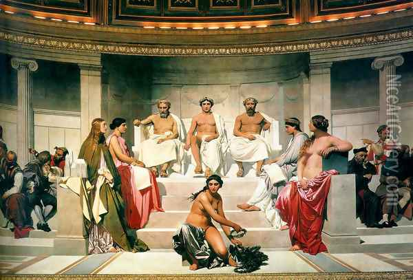 Hemicycle Of The Ecole Des Beaux Arts 1814 Centre Oil Painting - Paul Delaroche