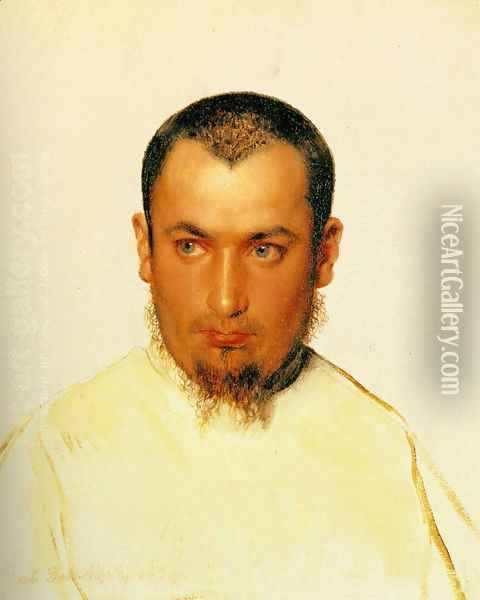 Head of a Camoldine Monk Oil Painting - Paul Delaroche
