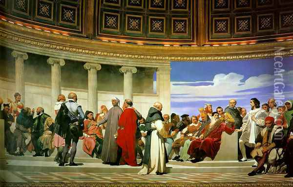 Hemicycle of the Ecole des Beaux (right side) Oil Painting - Paul Delaroche