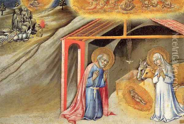 The Nativity and the Annunciation to the Shepherds 1450-55 Oil Painting - Sano Di Pietro